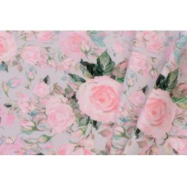 French terry gris sable roses rose